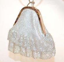 POCHETTE ARGENTO a BRACCIALE donna CRISTALLI borsa strass BORSELLO clutch bag elegante cerimonia festa F89