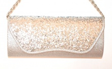 POCHETTE ARGENTO borsello donna da cerimonia brillantinato paillettes borsa elegante E170
