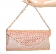 POCHETTE BEIGE ROSA CIPRIA donna borsello borsa strass cristalli borsetta G56