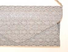POCHETTE borsello donna  GRIGIO  brillantini pizzo borsa ricamata da cerimonia elegante bag E155