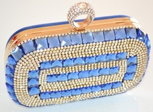 POCHETTE donna BLU strass CRISTALLI elegante clutch bag borsello da cerimonia 80X