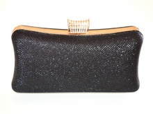 POCHETTE NERA donna ORO borsello elegante borsetta da cerimonia borsa da sera clutch E160