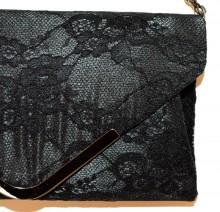 POCHETTE PIZZO NERA borsello borsa donna ricamata clutch borsetta elegante G55