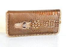 PORTAFOGLIO MARRONE BRONZO ORO donna borsellino pochette a mano strass portamonete da borsa F130