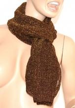 SCIARPA MARRONE donna BRILLANTINATA foulard pashmina scialle scaldacollo scarf écharpe шарф 5