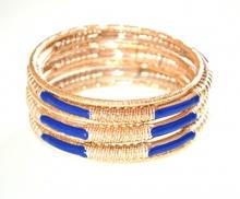 SET 7 BRACCIALI ORO BLU donna rigidi dorati ragazza bracelet armband pulsera F55