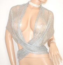 STOLA ARGENTO donna elegante coprispalle rete scialle maxi foulard cerimonia abito da sera S1