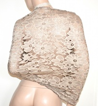 STOLA BEIGE 40% SETA coprispalle scialle donna pizzo foulard elegante ricamo A60