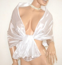 STOLA BIANCA coprispalle donna foulard metallizzato elegante abito da sera\cerimonia F1