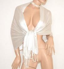 STOLA BIANCA donna da cerimonia scialle coprispalle sposa elegante maxi foulard brillantini F20