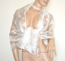 STOLA BIANCA foulard 20%SETA donna coprispalle scialle velato trasparente sciarpa sposa cerimonia G60
