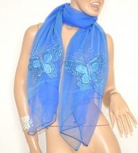 STOLA BLU AZZURRO donna elegante foulard velato sciarpa coprispalle strass cerimonia 5X