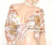 STOLA donna BIANCA CORALLO VERDE ORO foulard elegante seta velata coprispalle fantasia floreale da cerimonia E48