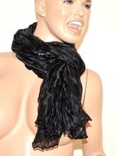 Stola donna coprispalle foulard maxi nero cerimonia elegante seta tinta unita metallizzato 115B
