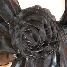 STOLA donna NERA da cerimonia MAXI COPRISPALLE seta elegante foulard tinta unita 750A