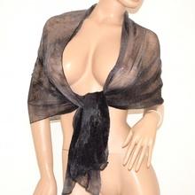 STOLA donna NERO GRIGIO coprispalle elegante sciarpa foulard bufanda x abito scarf 700