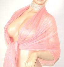 STOLA donna ROSA CIPRIA foulard seta COPRISPALLE damigella elegante da cerimonia 35X
