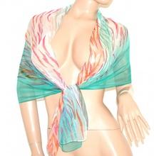 STOLA donna verde acquamarina fucsia corallo COPRISPALLE elegante FOULARD SETA VELATO x vestito da cerimonia scarf 160