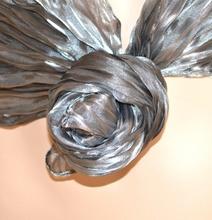 Stola foulard donna cerimonia coprispalle ARGENTO seta ondulato plissettato maxi sciarpa da sera elegante x abito 115A