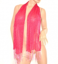STOLA foulard donna COPRISPALLE velato da cerimonia elegante x vestito sciarpa da sera rosa fucsia brillantinata shimmer 200G