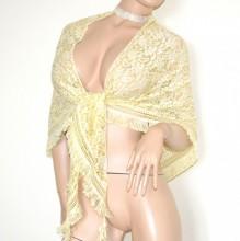 STOLA gialla scialle coprispalle maxi donna pizzo ricamato a punta triangolo frange bufanda G70