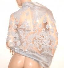 STOLA maxi GRIGIO ARGENTO donna elegante foulard seta velata ricamata coprispalle cerimonia E80