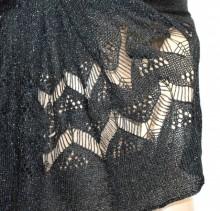 STOLA NERA donna filo traforato lurex scialle coprispalle foulard cerimonia blauer Schal G58