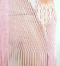 STOLA ROSA RETE donna filo foulard maxi scialle frange coprispalle lurex damigella G62