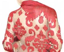 STOLA ROSSA NERA donna elegante 70% seta coprispalle da sera maxi foulard velato cerimonia Z4