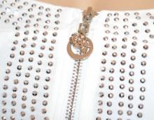 TOP CANOTTA BIANCA donna maglietta bustino corsetto strass chiodini zip cotone G42