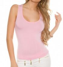 TOP CANOTTA ROSA donna maglia sottogiacca giromanica sexy laccetti T- shirt AZ63