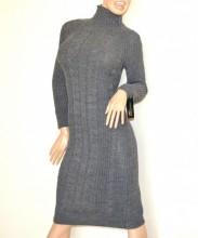 VESTITO GRIGIO abito a maglia lungo donna lana collo alto manica lunga made in Italy G68