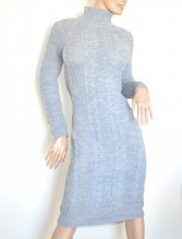 VESTITO GRIGIO PERLA abito a maglia lungo donna lana collo alto manica lunga made in Italy G68