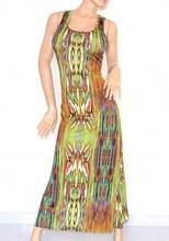 VESTITO LUNGO ELEGANTE donna maxi abito verde multicolore fantasia scollatura incrocio schiena nuda cerimonia da sera 105A