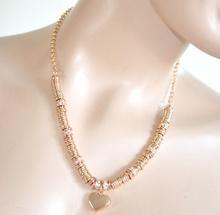 COLLANA donna GIROCOLLO ORO strass anelli elegante CIONDOLO CUORE cristalli 635