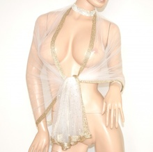 MAXI STOLA BIANCA ORO donna coprispalle elegante da sposa foulard strass cerimonia velo 55Z