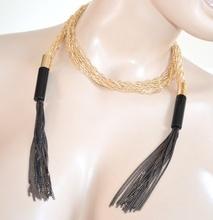 COLLANA LUNGA donna ORO NERO dorata fili girocollo sexy collier schiena elegante da cerimonia H20