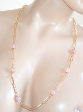 COLLANA donna LUNGA oro elegante dorata pietre cristalli rosa quarzo strass collier da cerimonia E68