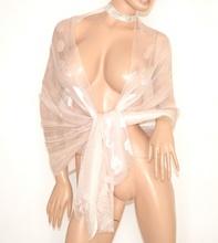 STOLA donna ROSA CIPRIA foulard coprispalle 30% seta velata per abito cerimonia elegante damigella E100