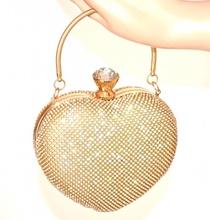 POCHETTE donna ORO CUORI clutch borsello cristalli borsa strass sposa E95