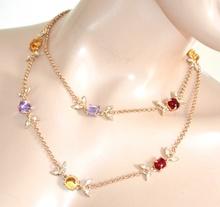 COLLANA ORO donna lunga dorata girocollo elegante cristalli lilla ambra rossi strass F205