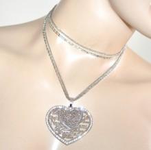 COLLANA LUNGA donna argento ciondoli cuore strass multi filo san valentino 840