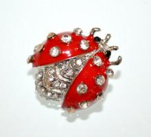 SPILLA donna argento rosso coccinella strass brillantini fermaglio brooch CC26