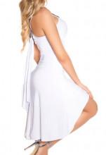 ABITO BIANCO donna vestito strass miniabito tubino elegante cerimonia party coctail dress A5