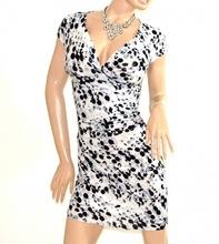 ABITO donna BIANCO NERO GRIGIO vestito manica corta a pois sexy scollo V dress E138