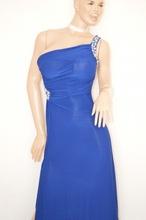 competitive price c85b7 5b4a6 ABITO LUNGO BLU vestito donna CRISTALLI sexy elegante da sera MONOSPALLA  cerimonia festa 60X