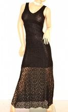 ABITO LUNGO donna NERO elegante pizzo ricamato da cerimonia vestito da sera party E120