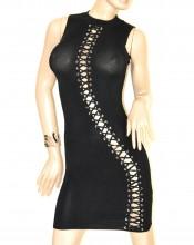 ABITO NERO vestito tubino donna giromanica aderente sexy lacci dress kleid G52
