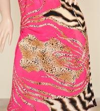 Abito vestito donna estivo elasticizzato in cotone fucsia scollatura a V incrociata con stampa animalier leopardata