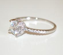 ANELLO ARGENTO CRISTALLO donna fedina solitario diamante veretta strass anel ring N63